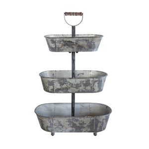 Decorative Metal 3-Tier Container w/ Wood Handle