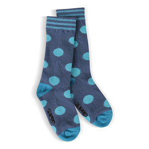 Moose Creek Youth Fiesta Dot Knee High Socks - Blue sz 1-2