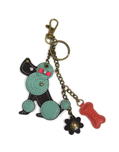 CHALA Mini Keychain/Purse Charm - Teal Poodle
