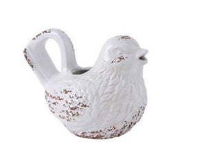 Ceramic Bird Watering Can - white