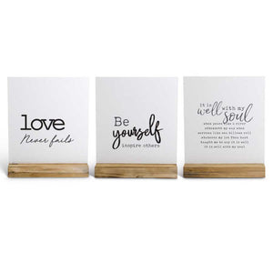 White Enamel Tabletop Signs on Wood Base - Be Yourself
