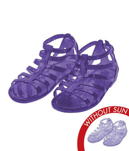 Sol Jelly Shoes - Gladiator Sandal - Clear to Purple, Size 6 Kids