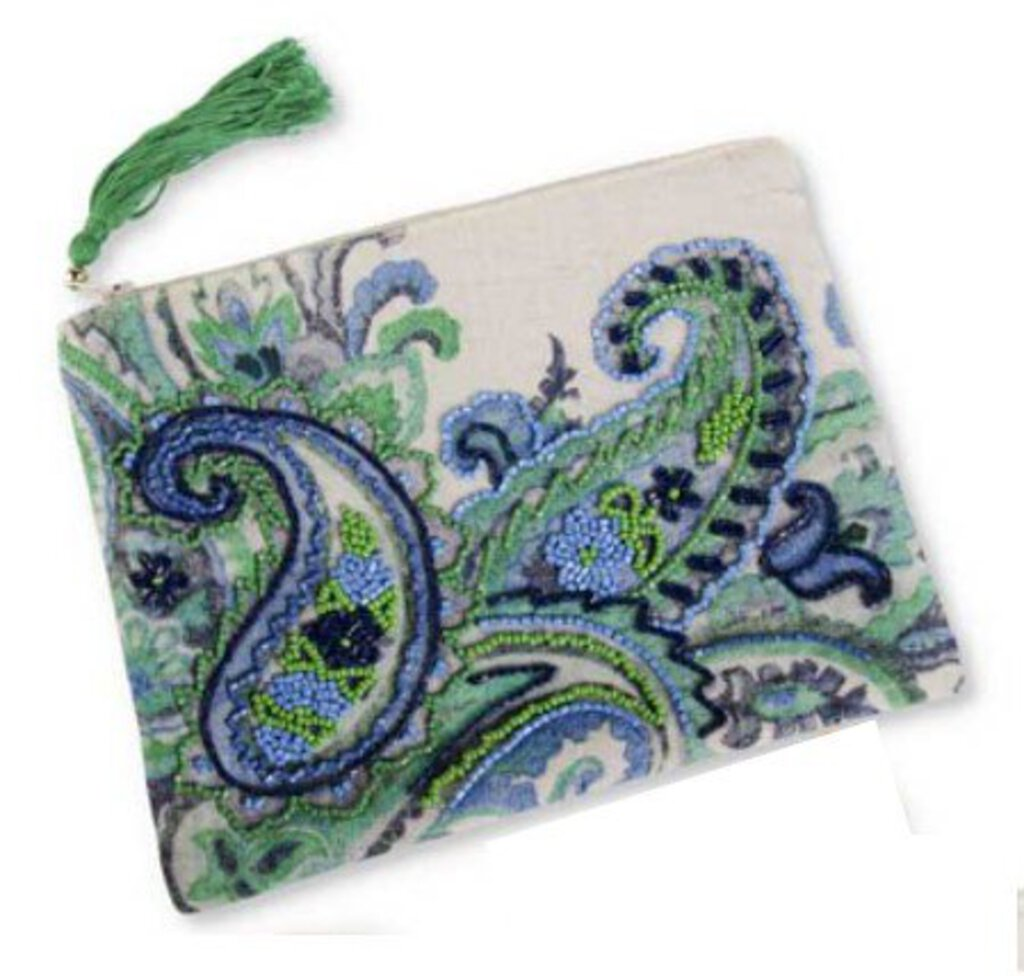 Paisley Beaded Cosmetic Bag - Blue