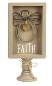 Wood Framed Wire Angels - Faith