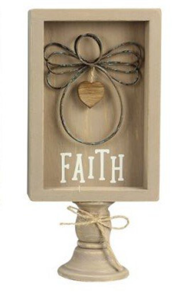 Wood Framed Wire Angel - Faith