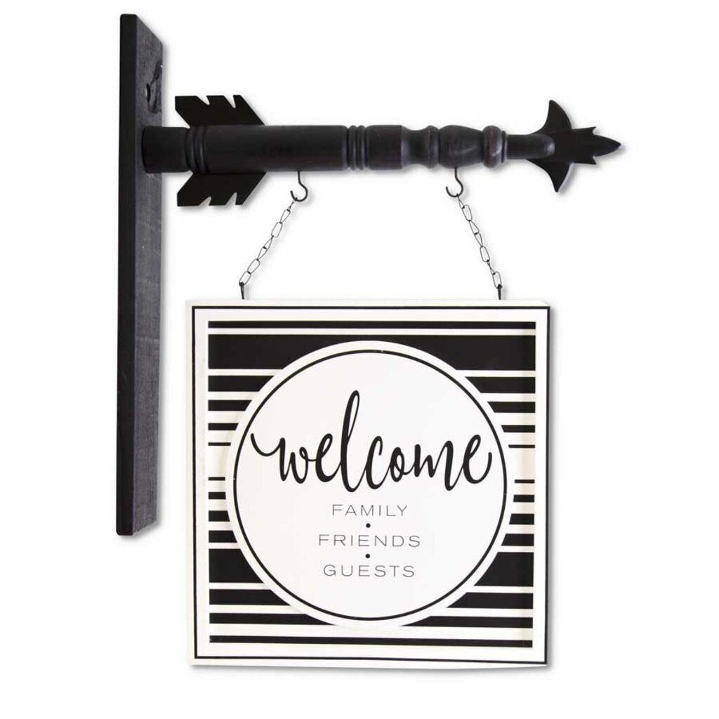 Black and White Wood Welcome Arrow