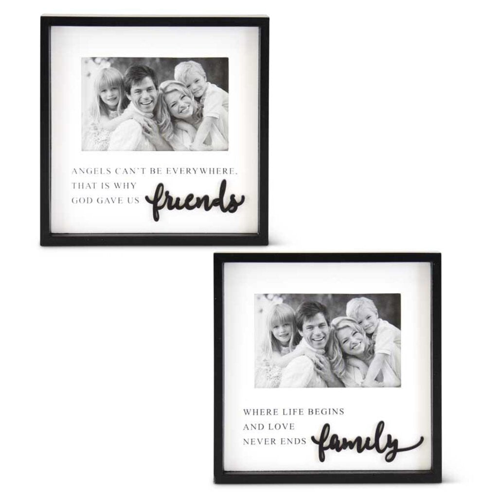 Black and White Wooden Inspiration Frame - Family