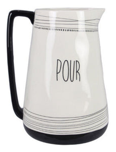 Ceramic Black and White Water Pitcher