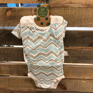 Everyday Chevron Onesie with Bib, Blue