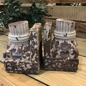 "6"" Set of 2 Resin Dock Post Column Bookends"