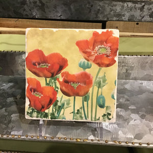 Tumbled Tile Poppies on Yellow Background