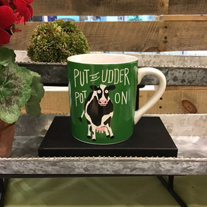 Little Blue House Ceramic Mug - Put an Udder Pot On