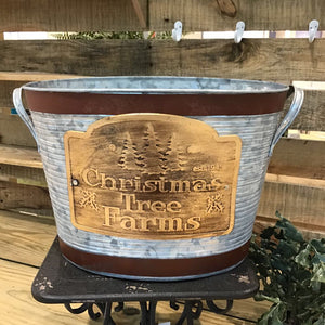 Galvanized Metal Christmas Tree Farm Bucket - Medium