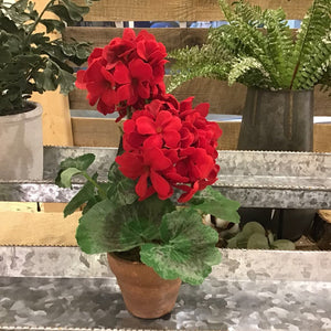 Red Potted Geranium - 10.5""