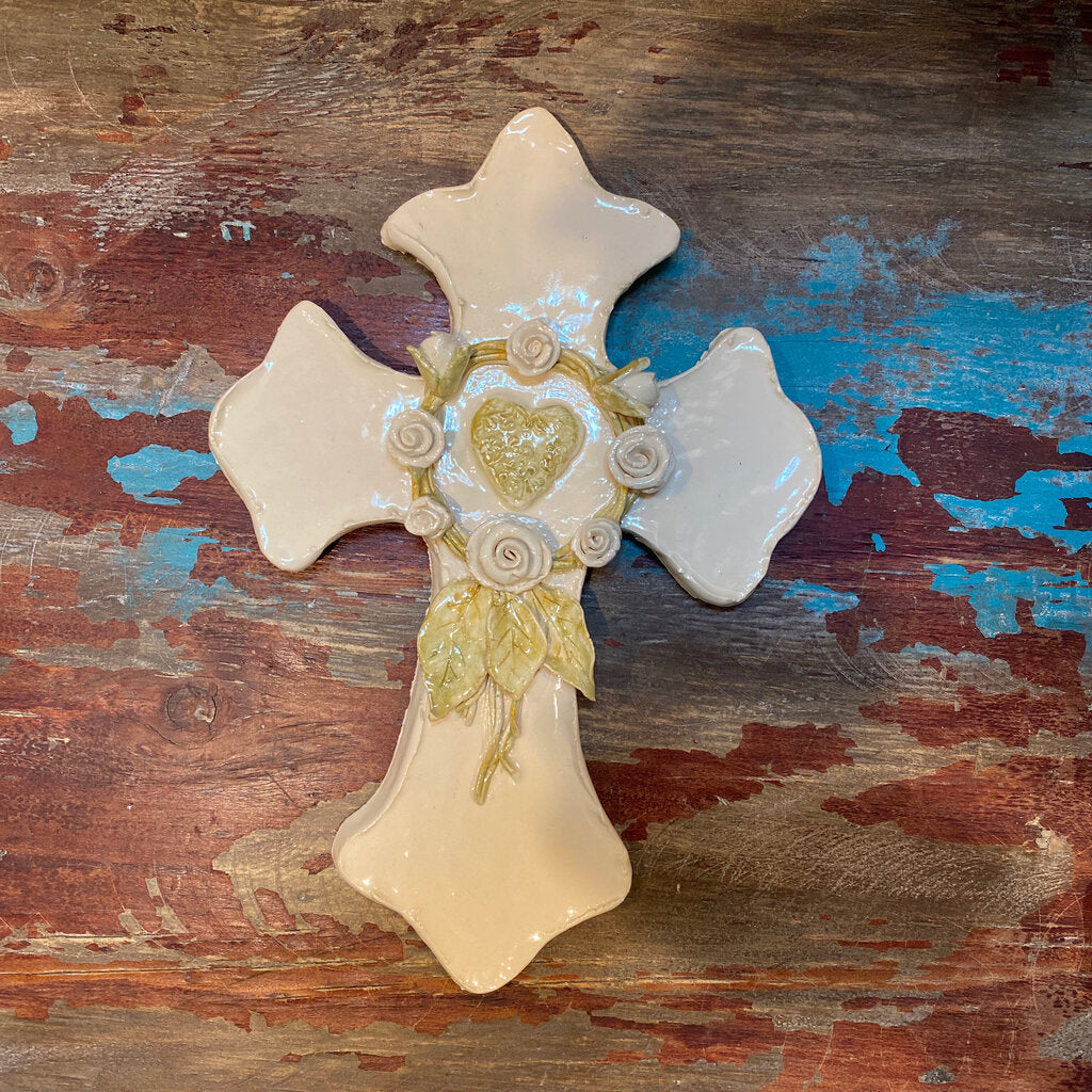 Handbuilt Cream Cross with Heart & Rose Wreath