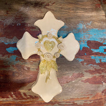 Load image into Gallery viewer, Handbuilt Cream Cross with Heart & Rose Wreath