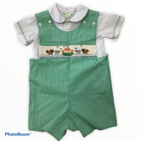Be Mine 2 Piece Green Checked Outfit With Smocking Detail Size 3