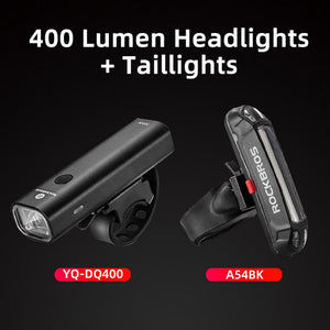 ROCKBROS 400LM Bike Light Headlight Bicycle Handlebar Front Lamp MTB Rode Cycling USB Rechargeable Flashlight Safety Tail Light