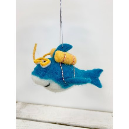 Felt Shark Decoration: Blue