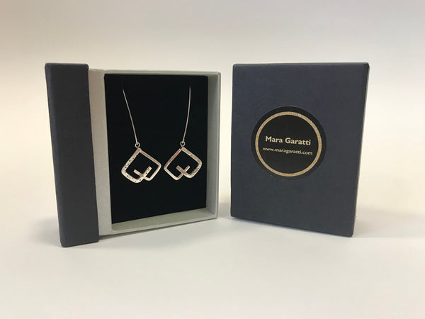 Geometric Heart drop earring by Mara Garatti