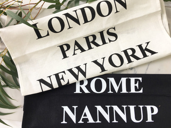Top Cities of the World Tea Towel