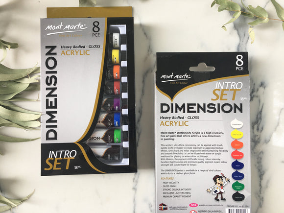 Mont Marte DIMENSION Acrylic Paint - 8 piece INTRO SET