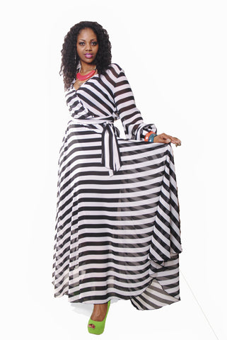 BLACK & WHITE FLOOR LENGTH CHIFFON