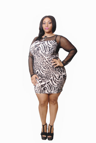 ANIMAL PRINT WITH MESH FRONT & SLEEVE