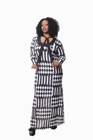 BLACK & WHITE DIAMOND PRINT MAXI W/TIE