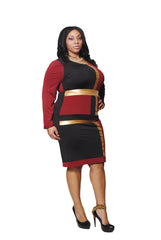BLACK, WINE & GOLD COLOR BLOCK DRESS