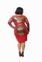 RED & GOLD SHIMMERING BODY CON