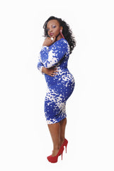 BLUE & WHITE PAINT BALL MIDI LENGTH BODY CON