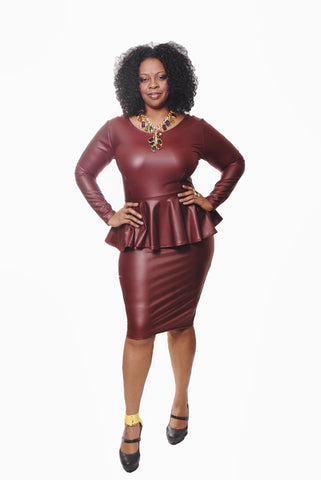 FAUX LEATHER PEPLUM DRESS-WINE