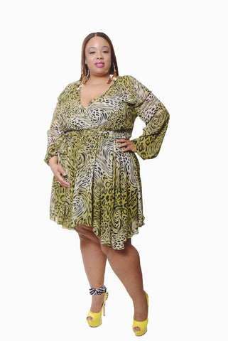 ANIMAL PRINT GREEN CHIFFON SHORT DRESS