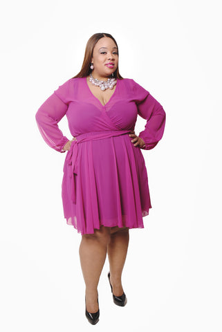 MAGENTA CHIFFON SHORT DRESS