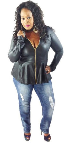 * FAUX LEATHER JACKET- BLACK