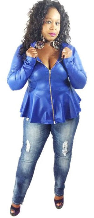 * FAUX LEATHER JACKET-BLUE