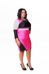 Pink & Black Body Con with Stripes