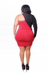 REVERSE RED/BLACK ONE SHOULDER BODY CON