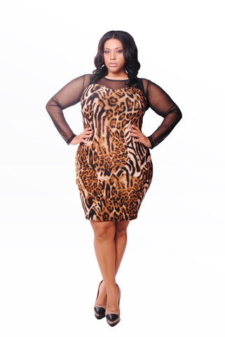 ANIMAL PRINT W/MESH FRONT & SLEEVES-BROWN
