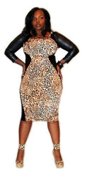 CHEETAH PRINT MIDI LENGTH FAUX SLEEVE BODY CON