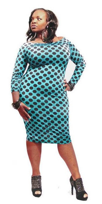 POLKA DOT BODY CON-TEAL