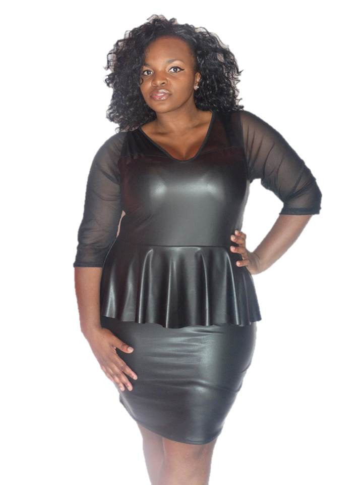 * BLACK FAUX LEATHER PEPLUM DRESS WITH MESS SLEEVES