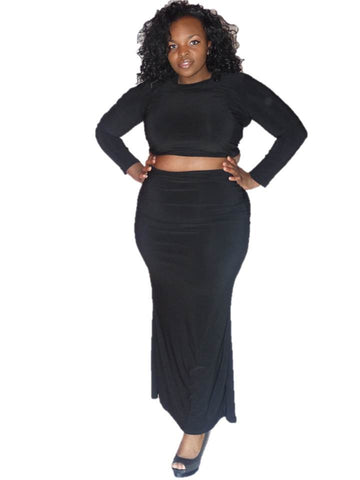 * CROP TOP & MAXI SKIRT - BLACK (2PC)