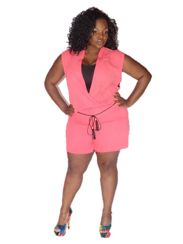 * SHORT ROMPER  WITH LACE BACK- CORAL