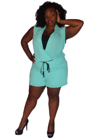 * SHORT ROMPER WITH LACE BACK-MINT