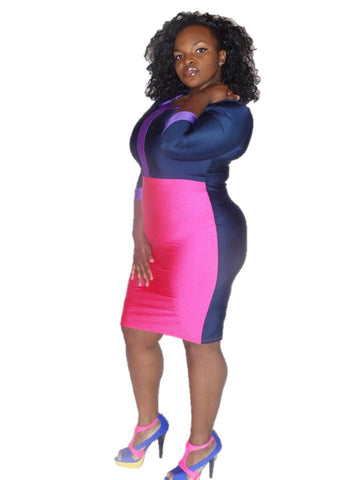 PINK & PURPLE COLOR BLOCK BODY CON