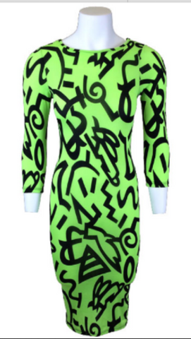 * CRAZY PRINT BODY CON-Lime