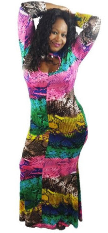 *  BOHEMIAN MULTI COLOR KEYHOLE MAXI