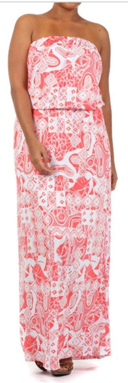 * CORAL & WHITE MAXI SUNDRESS